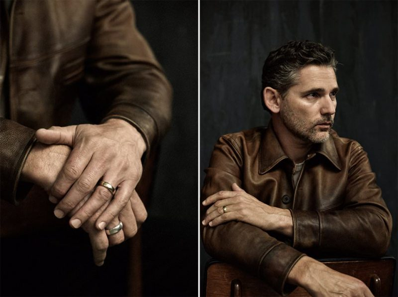 Eric Bana wears leather jacket RRL and jersey t-shirt James Perse.