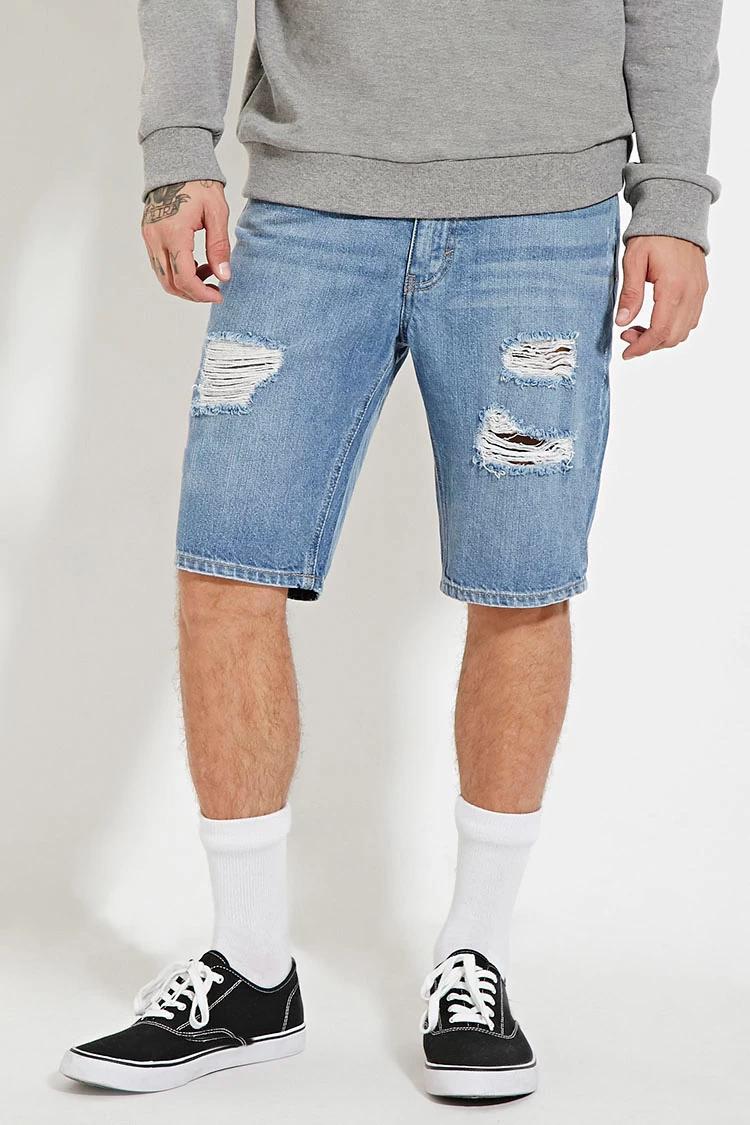 Forever 21 Men Distressed Denim Shorts