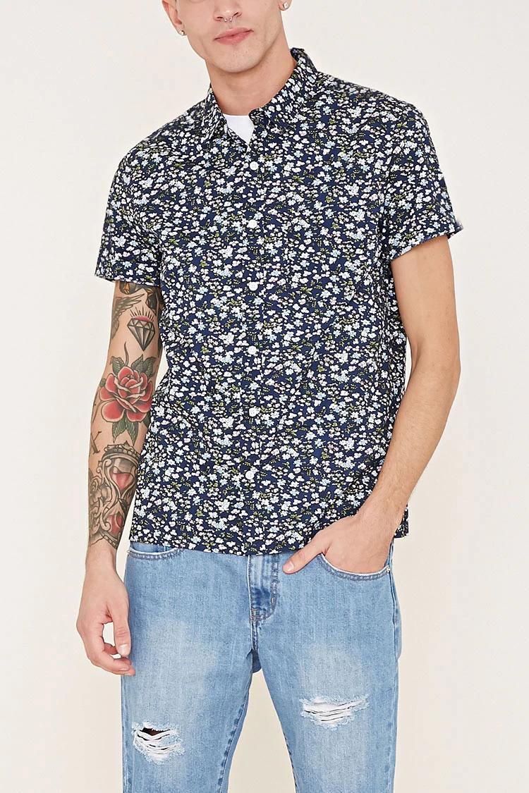 Forever 21 Men Floral Print Short-Sleeve Shirt