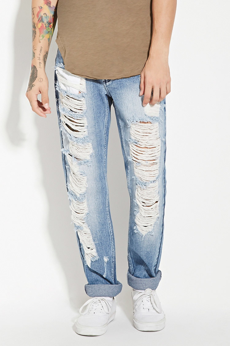 Reason Destroyed Slim-Fit Denim Jeans from Forever 21