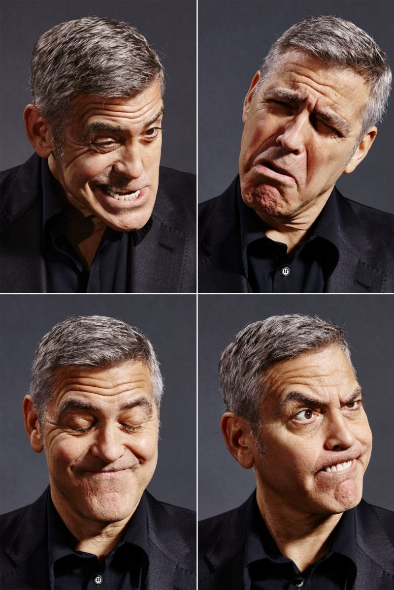 George Clooney makes cheeky faces for the lens of photographer Nigel Parry.