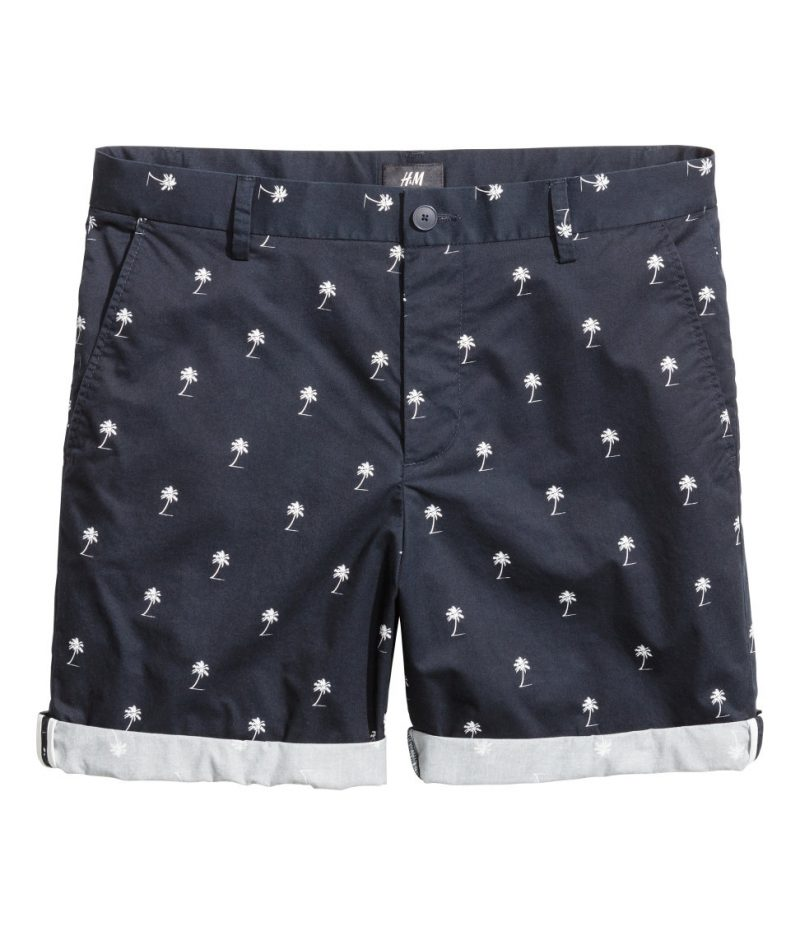 H&M Slim-Fit Palm Tree Print Shorts