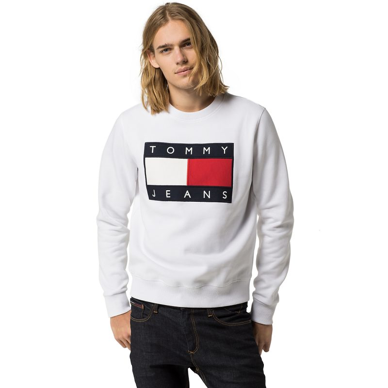 6a3324448 ... Hilfiger Denim Tommy Jeans Flag Sweatshirt in White