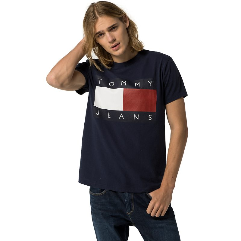 Hilfiger Denim Tommy Jeans Flag Tee in Navy