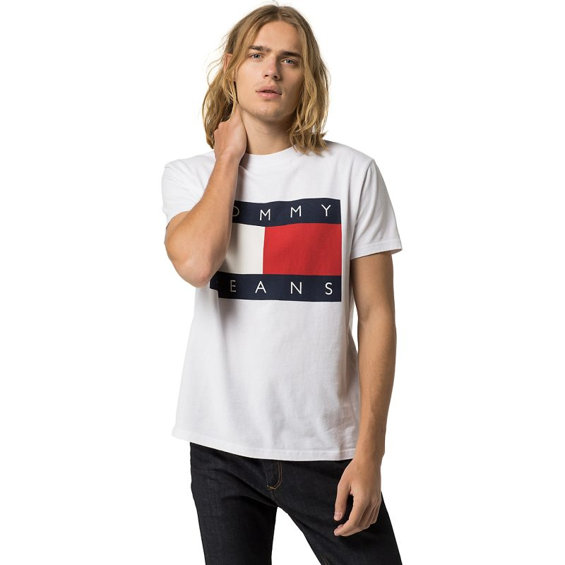 Hilfiger Denim Tommy Jeans Flag Tee in White