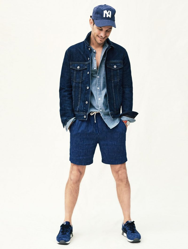 Kelly Rippy doubles down on denim and champions blue in J.Crew's dock shorts in an indigo striped Irish linen finish.