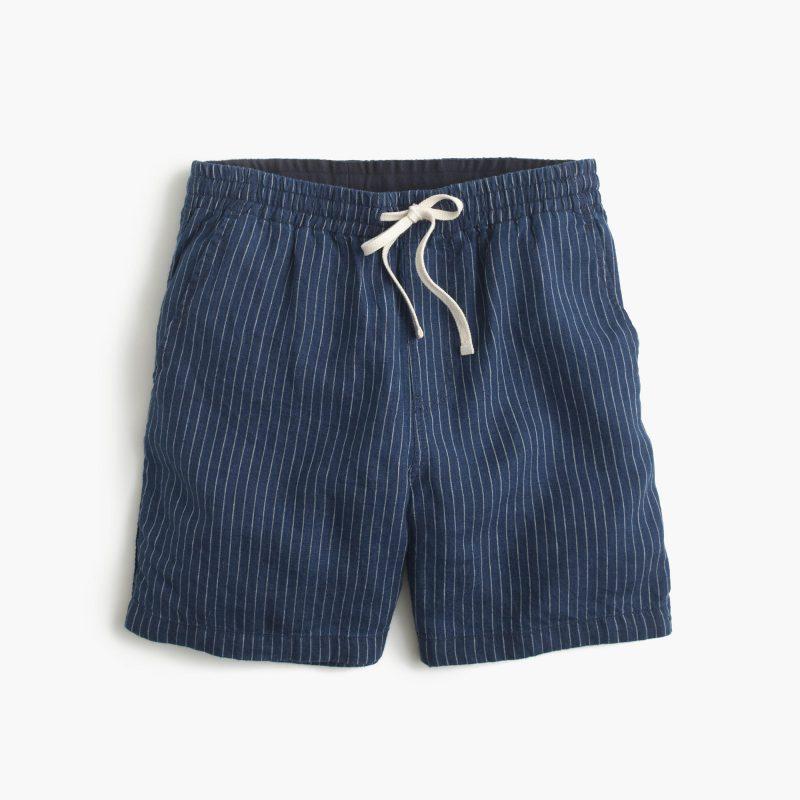 J.Crew Dock Shorts in Indigo Striped Irish Linen