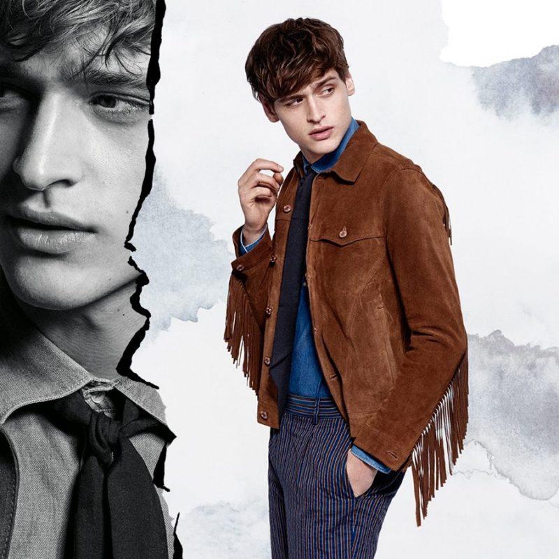 Matthijs Meel models a suede fringe jacket for J.Lindeberg's spring-summer 2016 campaign.