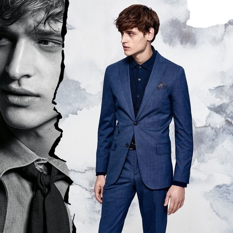 Matthijs Meel dons blue suiting with a black shirt for J.Lindeberg's spring-summer 2016 campaign.