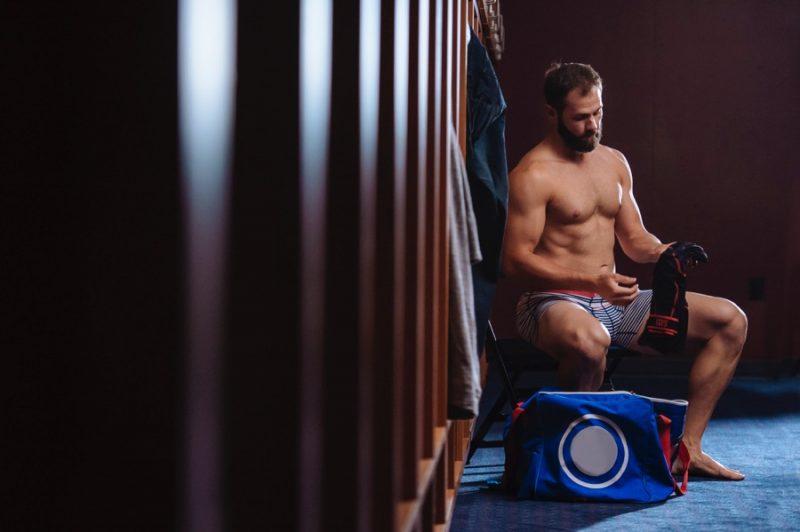 Jake Arrieta hits the locker room in striped SAXX underwear.
