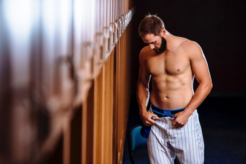 Jake Arrieta undresses, revealing the waistband of his SAXX underwear.