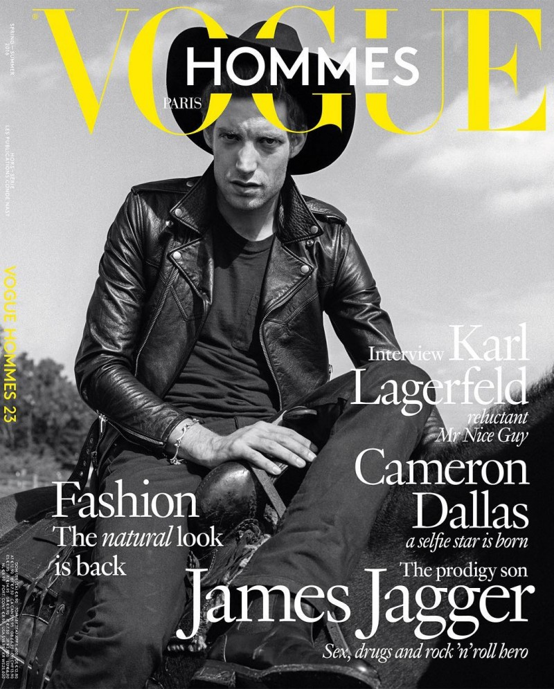 James Jagger covers the spring-summer 2016 issue of Vogue Hommes Paris.