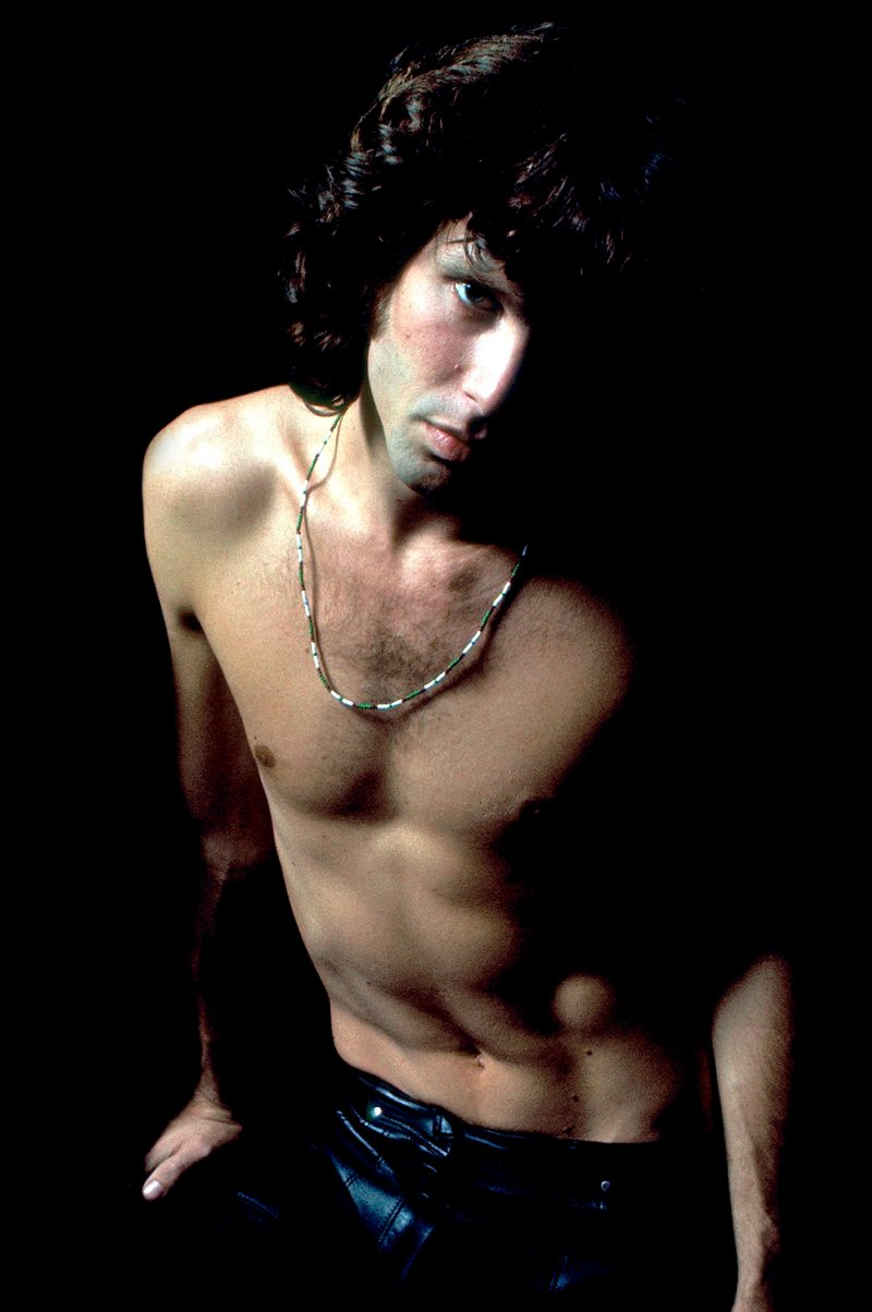 Jim Morrison goes shirtless in a pair of leather pants for this 1967 portrait by Joel Brodsky.