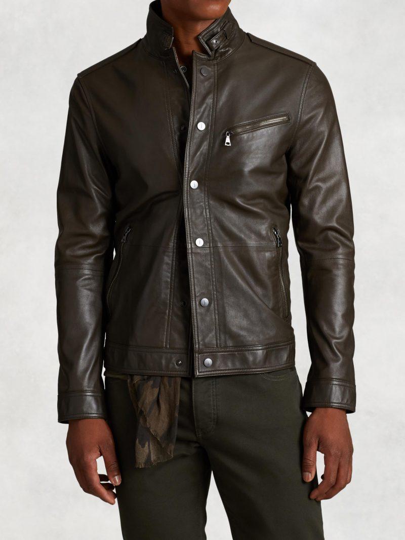 John Varvatos Garment Washed Short Leather Jacket