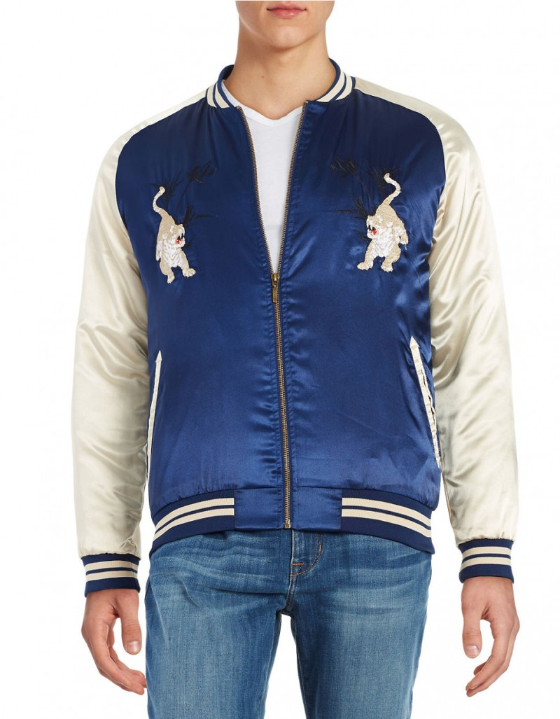 Lord & Taylor Laboratory Man Satin Souvenir Jacket: Retailer Lord & Taylor taps into the souvenir jacket trend with its very own brand. A pair of tigers decorate the blue and white style, which features a varsity collar.
