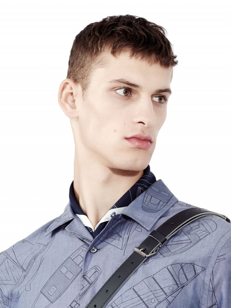 Model David Trulik appears in an image from Louis Vuitton's America's Cup Collection lookbook.