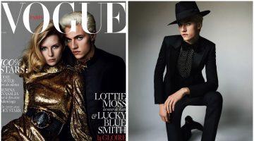 Lucky Blue Smith Joins Lottie Moss for Vogue Paris Cover, Wears Saint Laurent