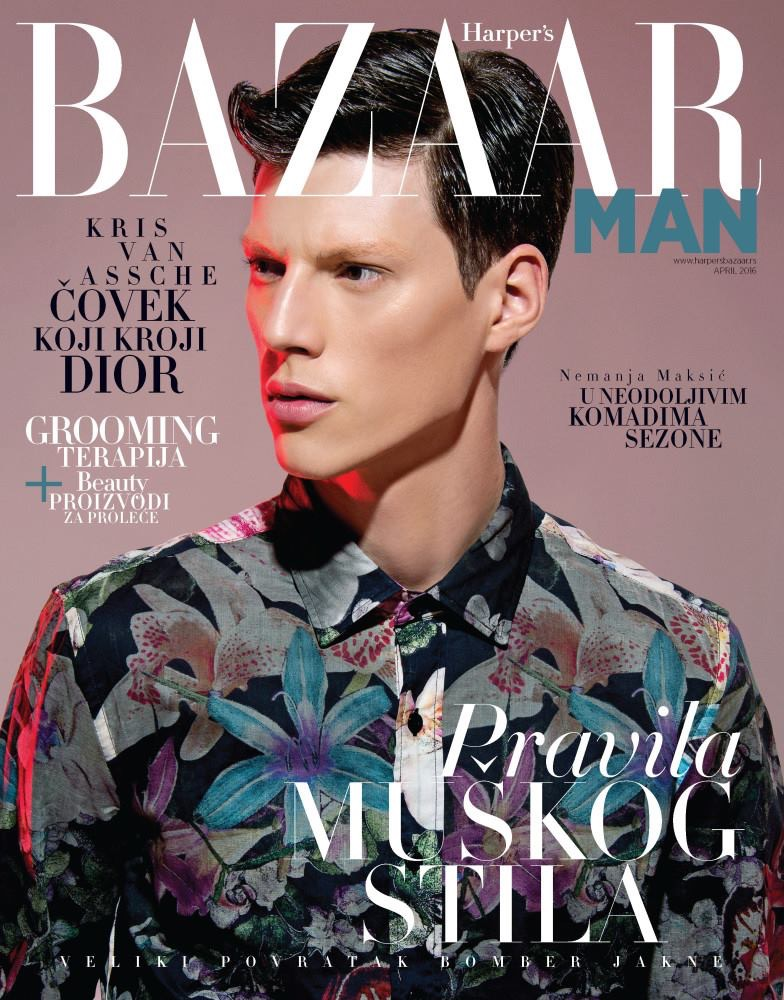 Model Nemanja Maksic covers Harper's Bazaar Serbia.