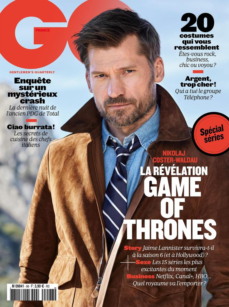 Nikolaj Coster-Waldau covers the May 2016 issue of GQ France.
