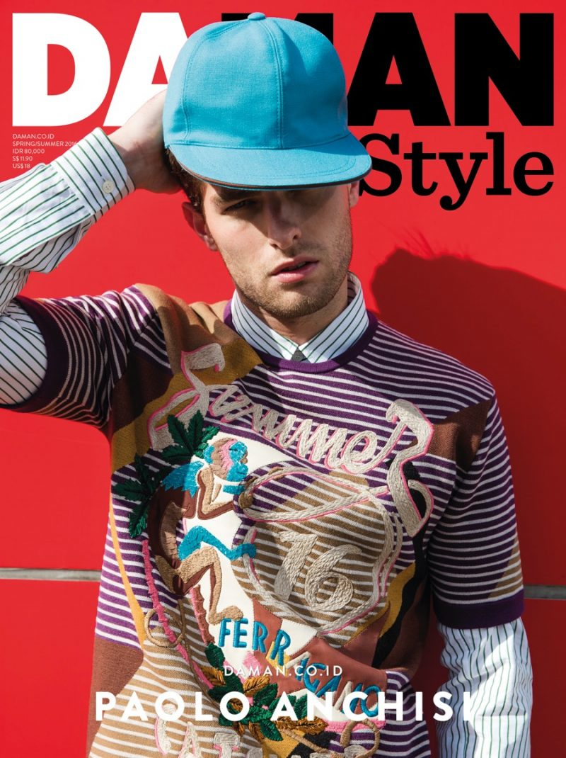 Wearing Salvatore Ferragamo, Paolo Anchisi covers the spring-summer 2016 issue of Da Man Style.
