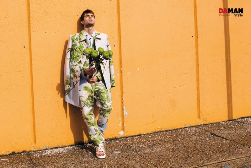 Paolo Anchisi embraces a botanical motif in spring-summer 2016 tailoring from Issey Miyake.