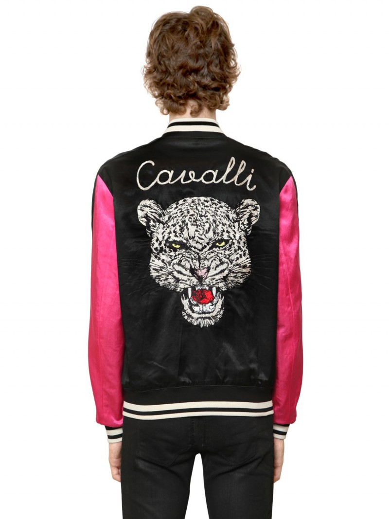 Roberto Cavalli's reversible satin souvenir jacket features a menacing tiger embroidery.