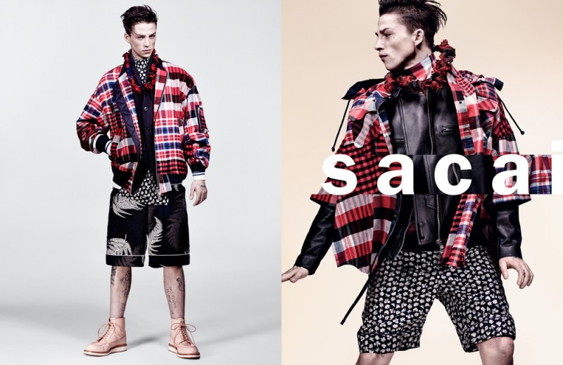 Ash Stymest rocks a mix of prints for Sacai's spring-summer 2016 campaign.