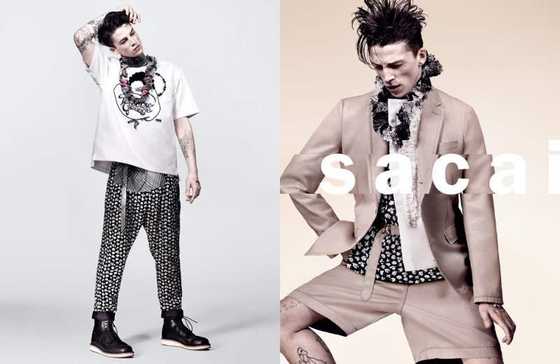 Ash Stymest photographed by Craig McDean for Sacai's spring-summer 2016 campaign.