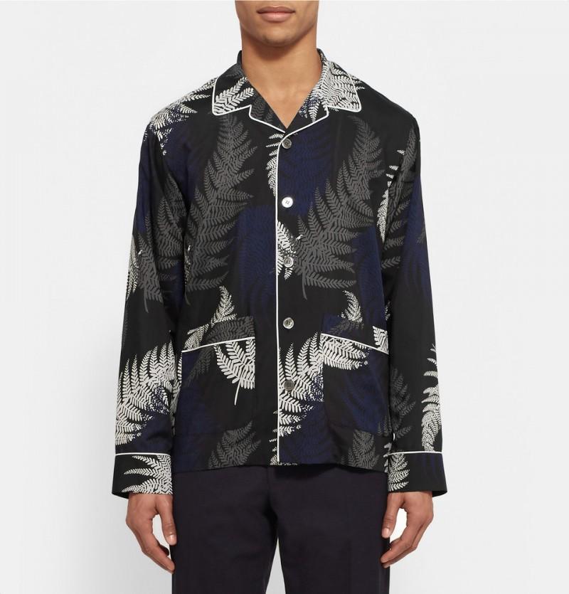 Sacai Camp Collar Printed Voile Shirt