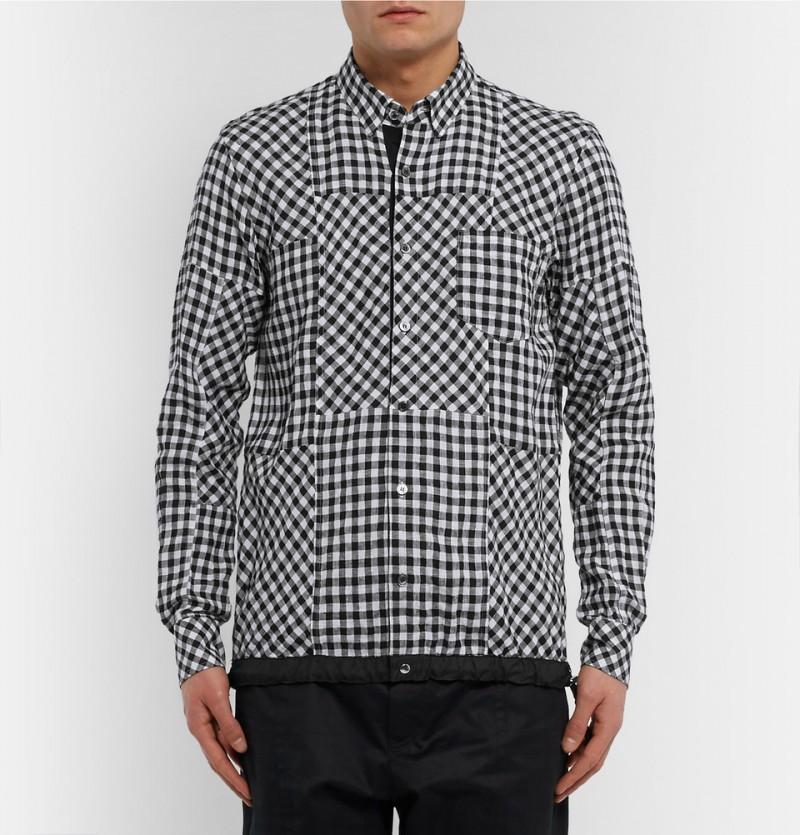 Sacai Drawstring Hem Checked Linen Shirt