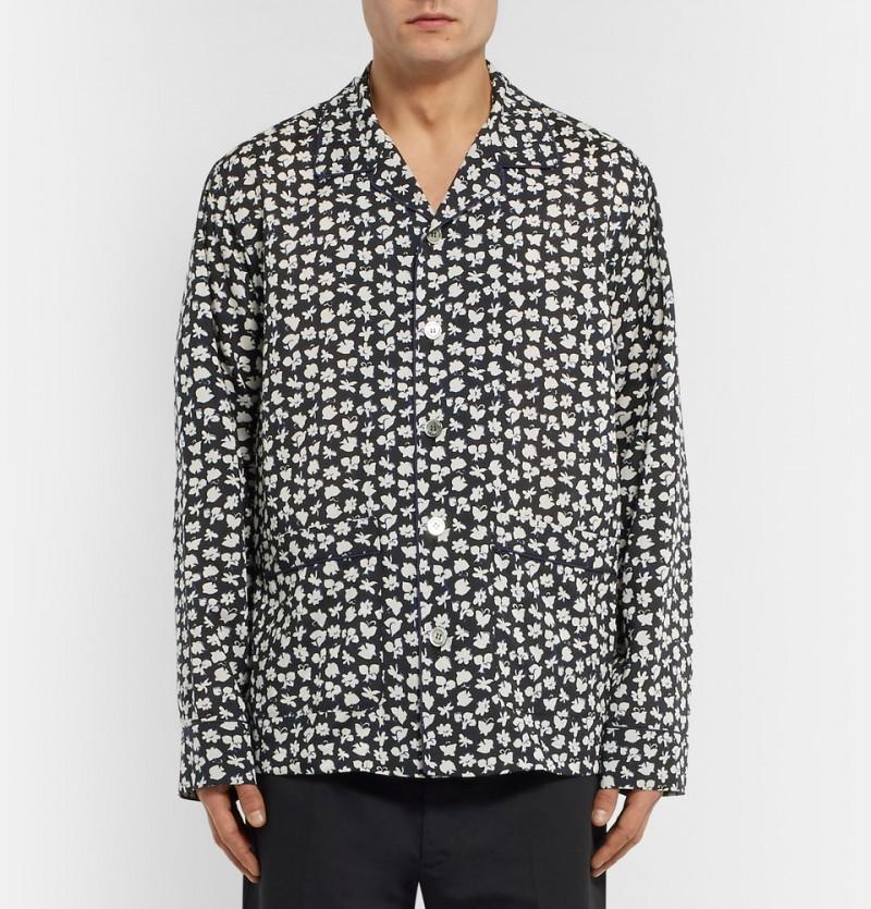 Sacai Printed Camp Collar Voile Shirt