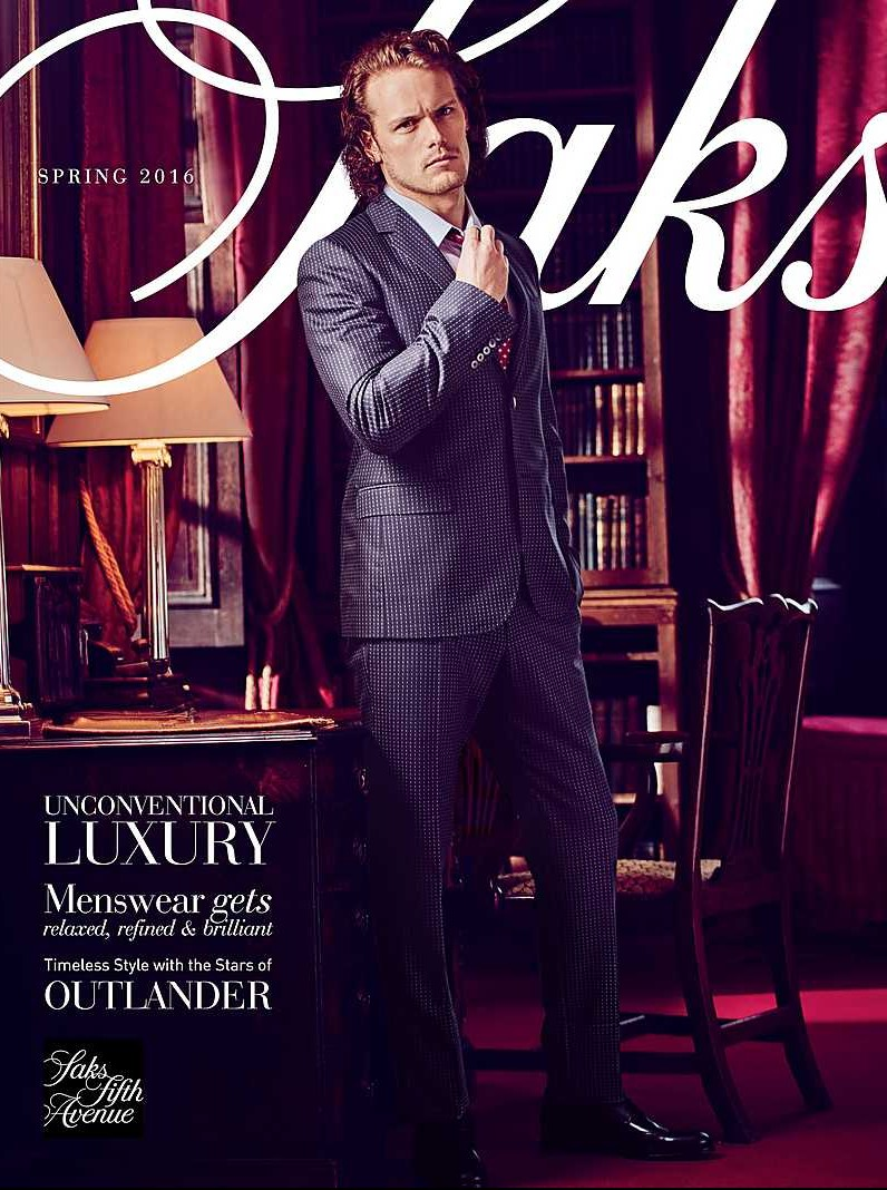Sam Heughan covers Saks Fifth Avenues spring 2016 mens catalogue.