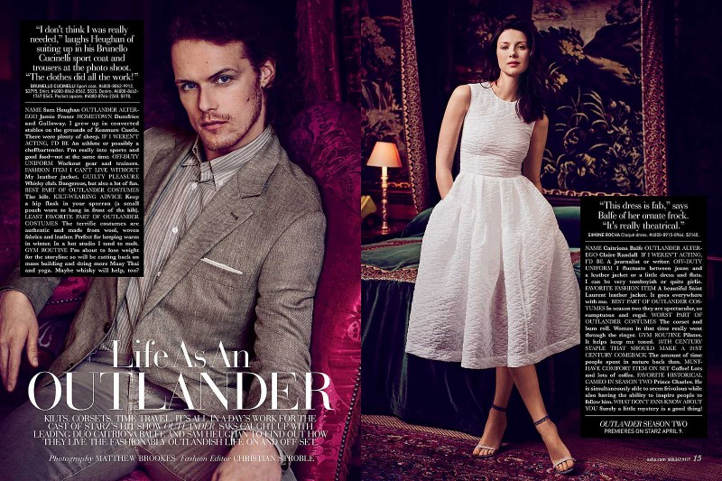 Sam Heughan and his Outlander costar Caitriona Balfe photographed for Saks Fifth Avenue.