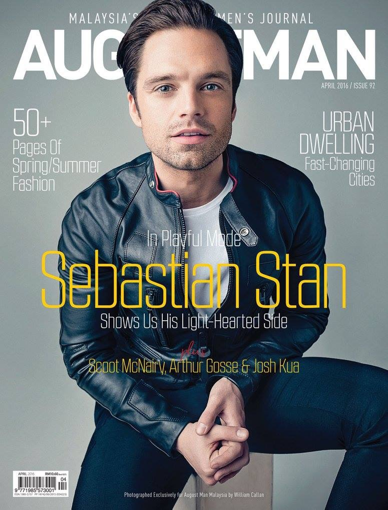 Sebastian Stan covers the April 2016 issue of August Man Malaysia.
