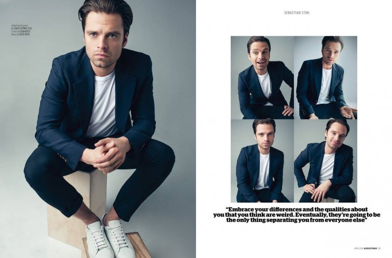 Sebastian Stan dons a spring suit from Coach.