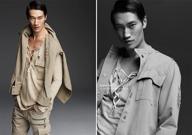 Philip Huang is safari chic in a spring-summer 2016 look from Parisian fashion house Balmain.