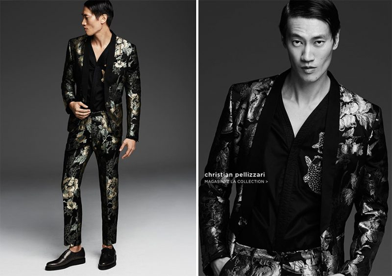 Philip Huang transforms into the dandy with a patterned suit from Christian Pellizzari.