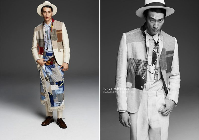 Philip Huang gets into patchwork, courtesy of Junya Watanabe.