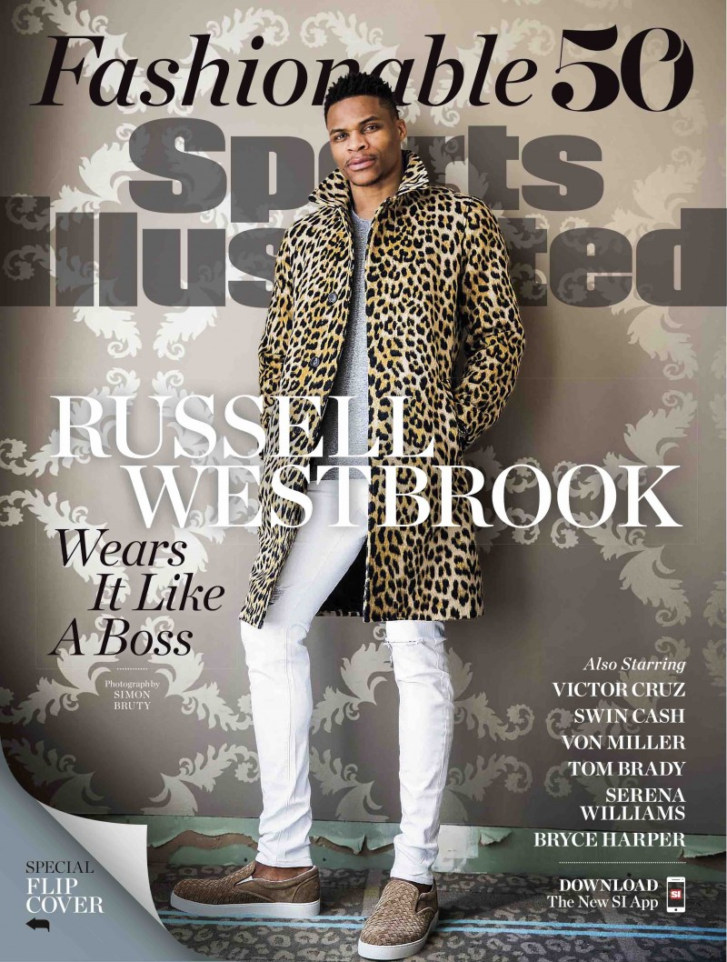 Russell Westbrook covers Sports Illustrated's Fashionable 50 issue.