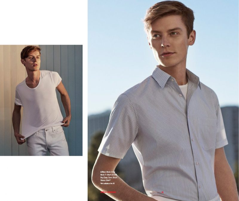 346086efa79 Left: Janis Ancens wears AIRism mesh crenwneck t-shirt and Mirsole Air  skinny fit