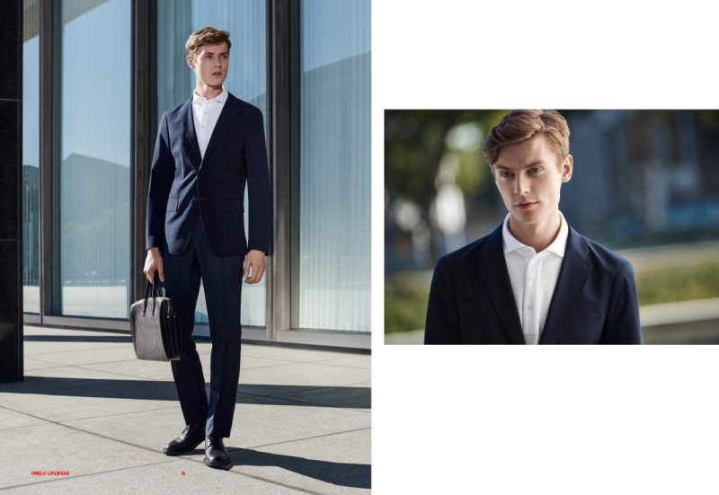 Janis Ancens wears ultra lighweight suit and dry shirt collar polo shirt from UNIQLO.
