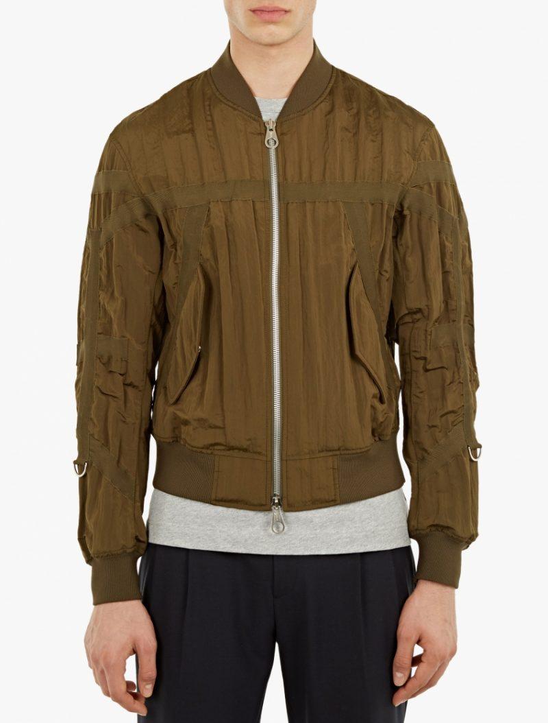Wooyoungmi Khaki Grosgrain Strap Detail Bomber Jacket