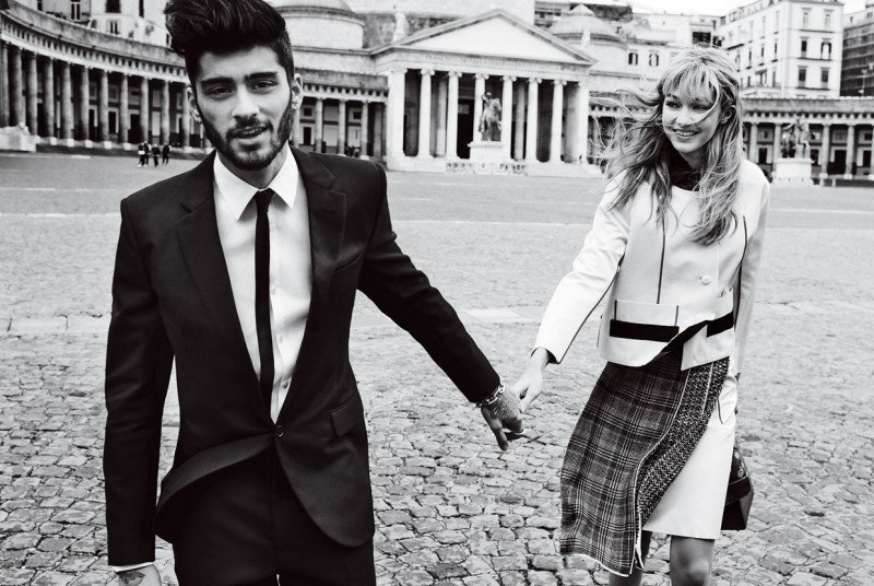 Zayn Malik joins his girlfriend Gigi Hadid in Naples for a shoot in American Vogue.