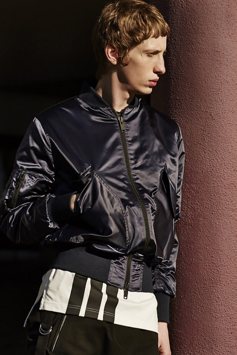 CMMN SWEDN Satin Bomber Jacket and Y-3 Striped Cotton T-Shirt.