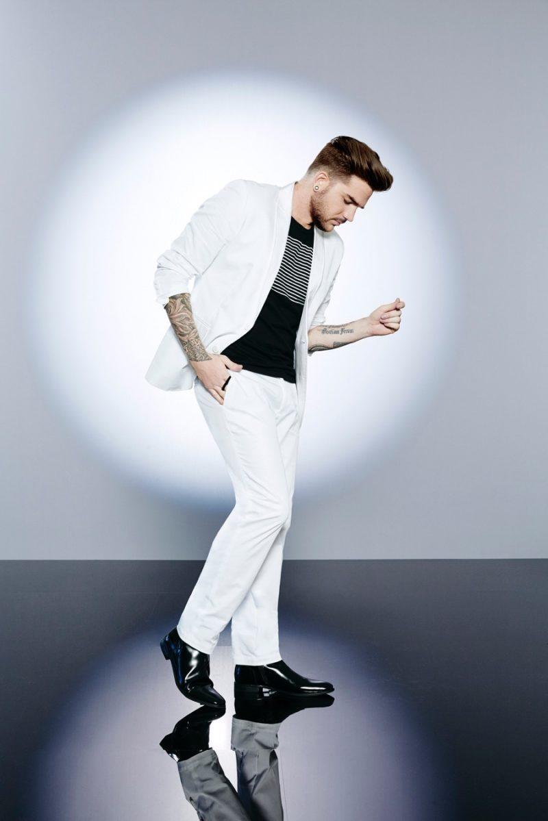 Adam Lambert rocks a white suit from INC International Concepts.