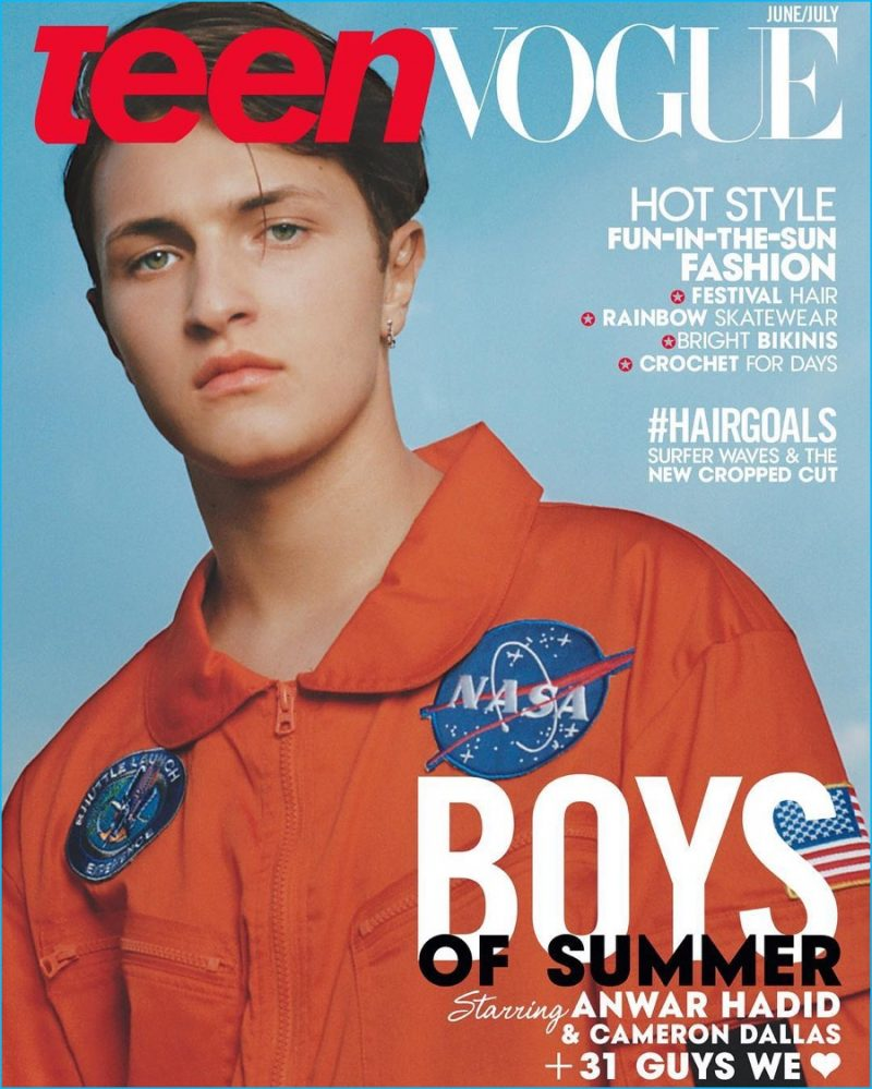 Anwar Hadid cover the June/July 2016 issue of Teen Vogue.