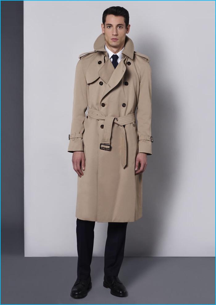 Model Nicolas Ripoll dons Aquascutum's Bogart trench coat.