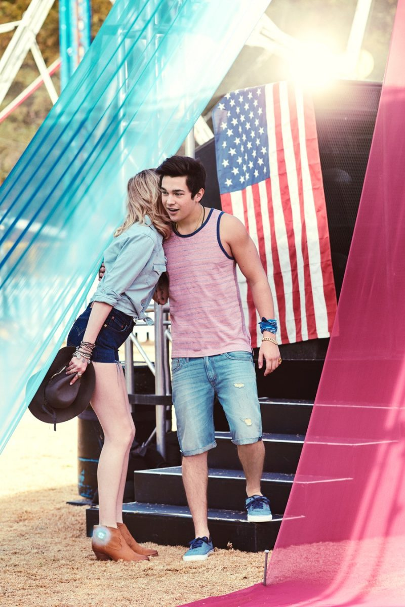 Austin Mahone wears an American Rag tank with Levi's denim shorts for Macy's American Icons summer 2016 campaign.
