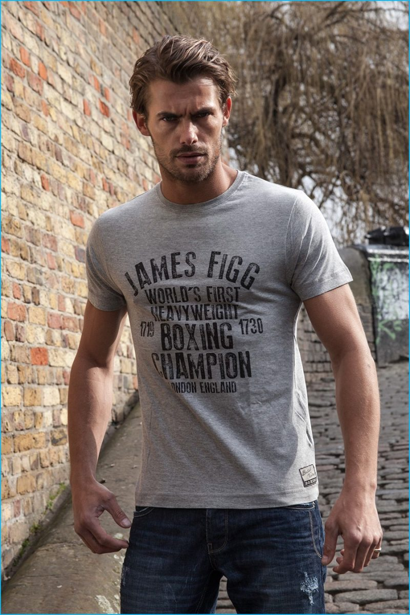 Jacey Elthalion is a casual vision in a James Figg t-shirt from British Vintage Boxing.