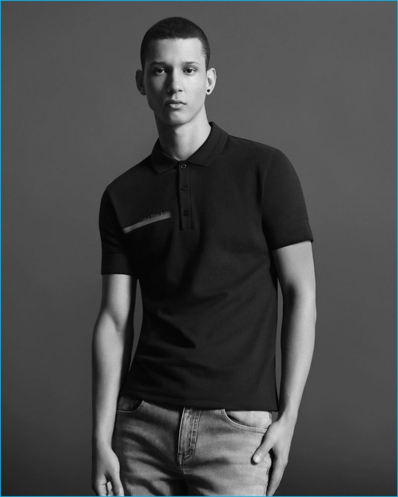 Abiah Hostvedt pictured in a black Calvin Klein Jeans polo shirt.